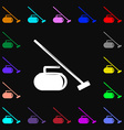 The stone for curling icon sign Lots of colorful vector image vector image