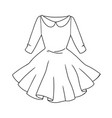 womens cocktail dress with full skirt and collar vector image