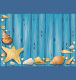 wooden background with seashells vector image