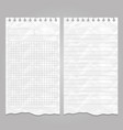 wrinkled ripped lined page templates for notes or vector image vector image