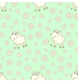 Seamless pattern with cute sheep and flowers vector image