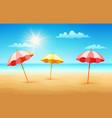 beach with umbrellas vector image