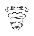 best chef emblem with friendly cook in hat sketch vector image vector image