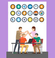 bitcoin currency and successful teamwork vector image vector image