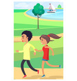boy and girl jog at park along path near pond vector image vector image