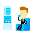 businessman drinking a glass water vector image