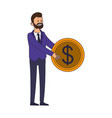 Businessman holding coin