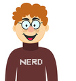 Cartoon Nerd in Glasses and Pullover of Tee vector image vector image
