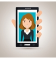 cellphone woman find hand vector image