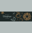 christmas and new year banner background vector image vector image