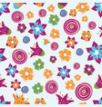 colorful abstract summer flowers on a light blue vector image vector image