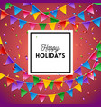 colorful red happy holidays card or poster design vector image