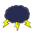 comic cartoon cloud and lightning bolt symbol vector image vector image