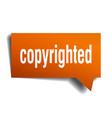 copyrighted orange 3d speech bubble vector image vector image