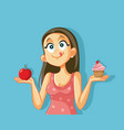 craving girl choosing between apple and muffin vector image