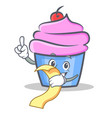 cupcake character cartoon style with menu vector image vector image