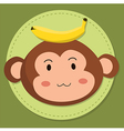 Cute Monkey Head Cartoon vector image