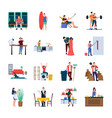 daily life flat icons set vector image vector image