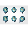 Dog mapping pins icons vector image vector image