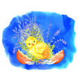 easter greeting card with funny chicken 2 vector image