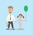 father and daughter on holiday vector image vector image