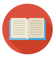Flat Open Book Circle Icon with Long Shadow vector image vector image