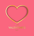 gold heart on pink background symbol of love vector image vector image