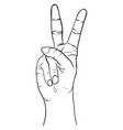 hand gesture sketch peace symbol vector image