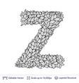 Letter z symbol of white leaves