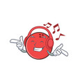 Listening music bowling ball character cartoon vector image