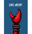 live music poster with crab claw heavy metall vector image vector image