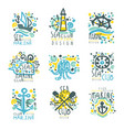 marine club set for label design journey summer vector image vector image