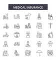 medical insurance line icons signs set vector image vector image