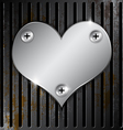 metallic heart with grille rusty vector image vector image