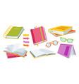 open paper book drawn cartoon set glasses vector image vector image