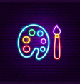 painting neon label vector image