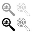 people search icon set grey black color vector image