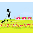 Pretty girl silhouette walking the dog on rural vector image vector image