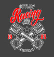 racing emblem template with crossed pistons vector image vector image