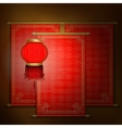Red scroll with Asian ornament and chinese lantern vector image