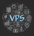 round line banner - vps concept on black vector image vector image