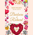 save date wedding rings and flowers heart vector image vector image