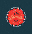sawmill logo retro styled woodwork emblem vector image vector image
