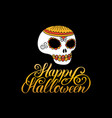 scull with happy halloween vector image