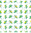seamless pattern of bouquets of fruits and leaves vector image