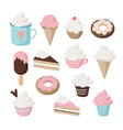 set different food and drink icons isolated vector image vector image