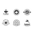 set of coffee logo and label in black color vector image