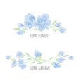 set of design elements blue sakura blossom vector image vector image