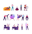 set tiny male and female characters relaxing vector image vector image