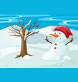 snowman in the snow field vector image